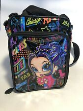 Vtg Lisa Frank City Lights Girl Poodle Black Insulated Bag