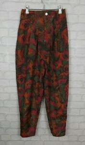 VINTAGE RETRO 90s BRIGHT HIGH WAISTED SILK PLEAT TROUSERS PANTS BOLD FESTIVAL