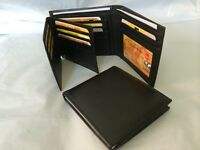 Mens Wallet Genuine Real Leather Wallet w/ 17 Credit Cards Holder
