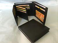 Mens Wallet Genuine Real Leather Wallet w/ 17 Credit Cards Holder