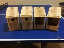 4 CEDAR Bird Houses 2 Bluebird + 2 Cardinal / Robin Handmade in the USA