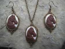 HORSE CAMEO NECKLACE AND EARRINGS SET-- BRONZE, GIFTS, EQUESTRIAN!!