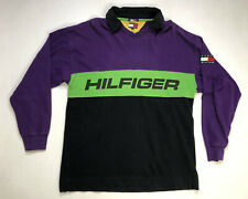 VINTAGE Tommy Hilfiger Sweatshirt Men's XL Purple Green Black Colorblock 90s