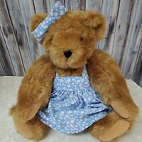"""Vermont Teddy Bear Spring Floral Blue Dress Jointed Plush  Stuffed Animal 16"""""""