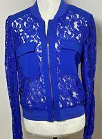 BCBG MAXAZRIA Size M 12 14 Jacket / Blouse Top Nicolle Sapphire Blue Lace Zip