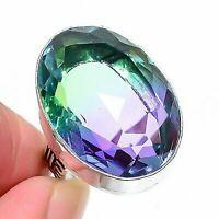Bi-Color Tourmaline Handmade Ethnic Jewelry Ring Size 7 AD3251