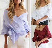 Women Off Shoulder Ruffle Sleeve Waist Tie V Neck T-Shirt Blouse Top