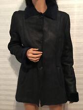 TASTE LUXURY HUMOR Navy Lamb Shealing Leather Suede Short Coat Jacket sz 46 (M)
