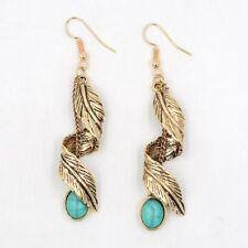 Tassel Leaf Ethnic Turquoise Earrings Natural Stone