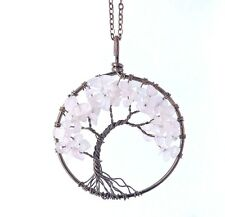 Chakra Cherry Blossom Tree Of Life Pendant Necklace Healing Energy Reiki Balance