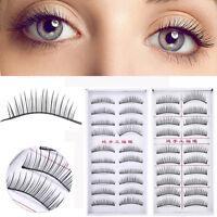 10 Pairs Soft Makeup Cross Thick False Eyelashes Eye Lashes Nautral Handmade LY