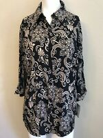 Ladies Size Medium Blouse Tunic Black Tan New With Tags