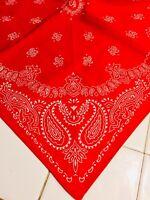 Vintage Antique RED & WHITE PAISLEY Bandana 100% Cotton Biker Handkerchief
