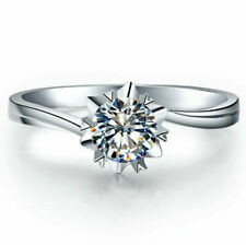 0.80 CT 925 sterling silver Solitaire Ring Real Moissanite Engagement bride Ring