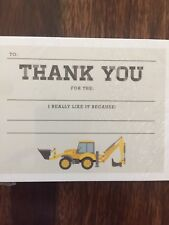 New Kids Construction Dump Truck Boys Birthday Thank You 15 Count w/ Envelopes