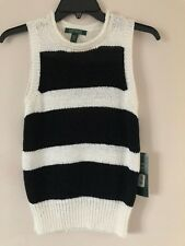 Ralf Lauren Womens Top Acrylic Color White/Black Size XS NWT