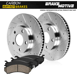 For 1994 - 1996 Bronco F150 Front Drill Slot Brake Rotors & Carbon Ceramic Pads