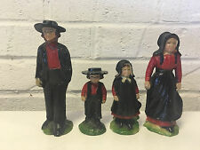 Vintage Cast Metal Painted Amish Family Toy Mother Father Son & Daughter