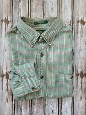 ORVIS Mens Green Check w/ red Classic Button-front LS Shirt Size Large