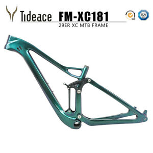 Chameleon Green T800 Carbon Full Suspension Mountain Bicycle Frames BB92 OEM
