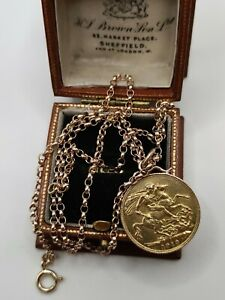 22ct Gold 1913 Full Sovereign Coin On 9ct Rose Gold Belcher Chain Necklace