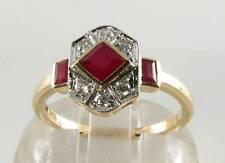 LUSH 9K 9CT GOLD INDIAN RUBY DIAMOND ART DECO INS RING FREE RESIZE