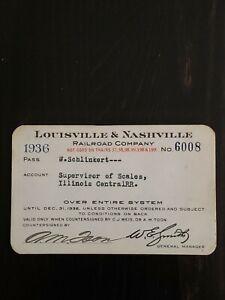 Vintage Rare 1936 Louisville & Nashville Railroad Company Pass Ticket