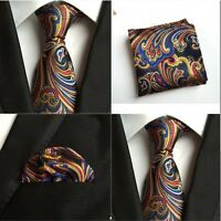 Men Mixed Color Paisley Flower Silk Tie Pocket Square Handkerchief Set Lot HZ108