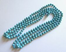 """Magnesite  Necklace--round beads - blue turquoise color  -84"""" long"""