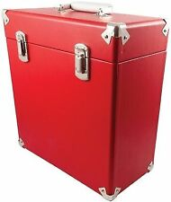 GPO Portable Black Carry Case for 12inch Vinyl Records Red