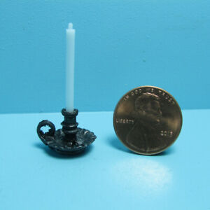 International Miniatures Dollhouse Miniature Set of Copper Candlesticks with Candles