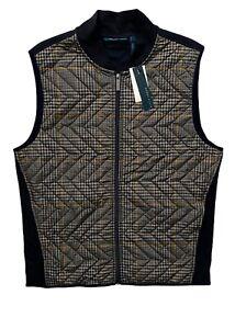 Perry Ellis Men's Nwt Quilted Zip Front Blue Sapphire Check Plaid Vest
