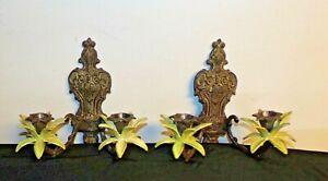 Antique Cast Iron Wall Sconces Palm Leaves garden decor set of 2