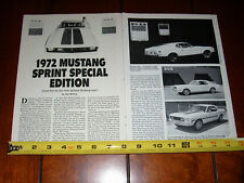 1972 MUSTANG SPRINT SPECIAL EDITION - ORIGINAL 1990 ARTICLE