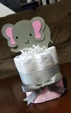 Mini Diaper Cake - Pink Elephant Theme Diaper Cake for Baby Girl Shower