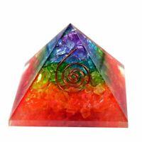 LARGE LG-70mm Orgonite 7 Chakra Rainbow Orgone Pyramid EMF Protection FengShui
