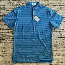PETER MILLAR Summer Comfort Mens Polo Shirt Blue Striped Size Small Golf New
