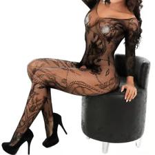 Sexy erotic lingerie bodystocking bodysuit crotchless leaf pattern nightwear