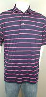 FootJoy FJ  Mens Blue/Pink Golf Short Sleeve Polo Shirt Polyester Spandex EUC