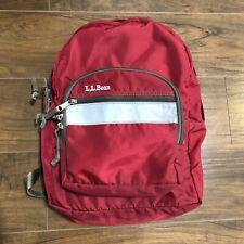 Vintage LL Bean Backpack 90's Bookbag Pack with Reflector Strip - Red School Bag