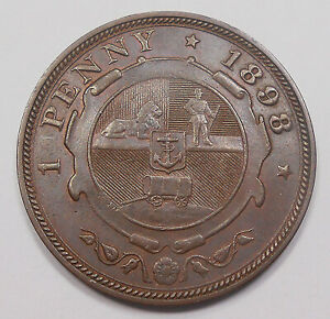 South Africa 1898 Penny CH AU * SCARCE Beauty HIGH Grade LOW Mintage Bronze Coin