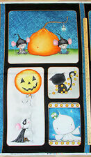 "Charned Cat Mouse Ghost Halloween Fabric  23"" Panel    #23882"