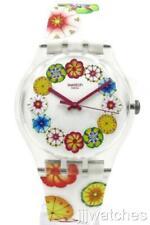 New Swatch Originals Women KUMQUAT White Floral Silicone Watch 41mm SUOK127 $80