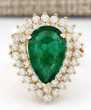 5.84 Carat Natural Emerald 14K Yellow Gold Diamond Ring