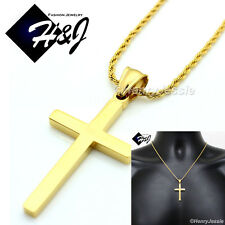 """18""""MEN's Stainless Steel 1.5mm Gold Smooth Rope Chain Necklace Cross Pendant*GP"""
