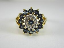 BEAUTIFUL LADIES 10K TWO-TONE GOLD TOPAZ AND DIAMOND CLUSTER STYLE RING 4.1G