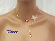 Collier petit papillon beige (ivoir), rouge et cristal.  Bijoux mariage.