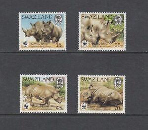 T904 Swaziland 1987 Blanc Rhinocéros / Faune / Wwf 4v. MNH