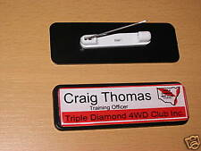 1 NAME BADGE work, club your name, logo pin back 64 x 19 business and clubs