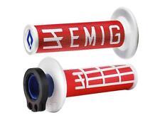 Revêtements Lock-On Odi Emig V2 Bicolores Rouge/Blanc Semi-Gaufré 4 Temps